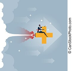 Finance Success. Businessman driving upwards on a plus sign. Concept business vector illustration.