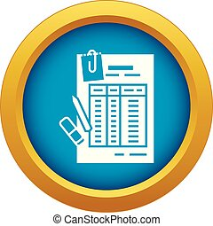 Finance table paper icon blue vector isolated