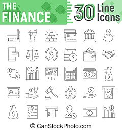 Finance thin line icon set, banking symbols collection, vector sketches, logo illustrations, money signs linear pictograms package isolated on white background, eps 10.