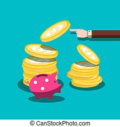 Finance Vector Flat Design Concept. Dollar Coins with hand and Piggy Bank. Cash Money Stack. Economy and Business Background.