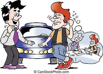 finance, voiture, jeune, illustration, sports, comment, vecteur, dessin animé, penser, homme