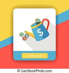finance watering money flat icon