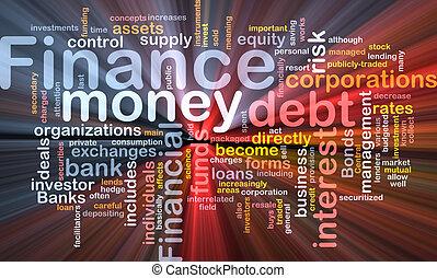 Finance word cloud glowing