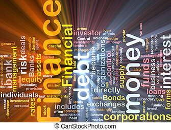 Finance word cloud glowing - Word cloud concept illustration...