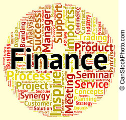 Finance Word Shows Profit Figures And Commerce