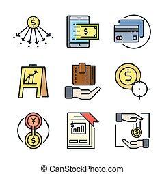 financeiro, ícone, jogo, cor, 2