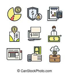financeiro, ícone, jogo, cor, 3