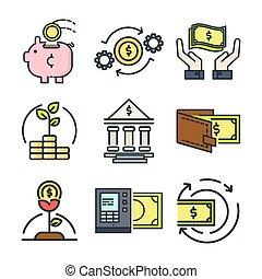 financeiro, ícone, jogo, cor