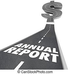 financeiro, anual, resultados, relatório, seta, crescendo, desempenho, estrada