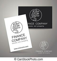 financeiro, companhia, sinal dólar, logotipo, euro