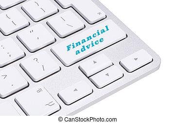 financeiro, conselho, botão, ligado, teclado, finanças, conceito