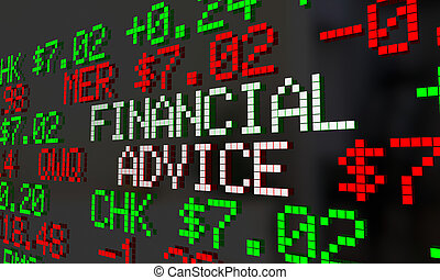 financeiro, conselho, conselheiro, dinheiro, ajuda, armazene ticker, 3d, ilustração