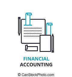 financeiro, contabilidade, conceito, esboço, ícone, linear, sinal, linha magra, pictograma, logotipo, apartamento, ilustração, vetorial