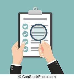 financeiro, contabilidade, concept., homem negócios, segurando, lupa, com, lista de verificação