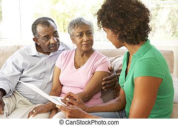financeiro, conversa par, conselheiro, lar, sênior