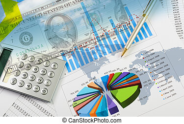 financeiro, e, negócio, gráficos, e, gráficos