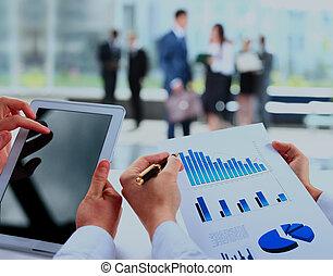financeiro, escritório, negócio, work-group, analisando, dados