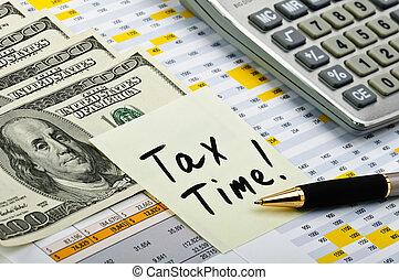 financeiro, formulários, com, caneta, adesivo, calculadora, e, dinheiro.