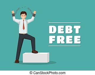 financeiro, gesture., alegre, celebrando, template., dívidas, bandeira, vitorioso, correntes, independência, feliz, apartamento, após, livre, quebrada, dívida, empréstimos, caricatura, banco, homem, pagar, devedor, desligado, vetorial