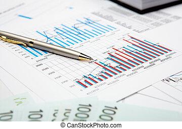 financeiro, gráficos, e, gráficos