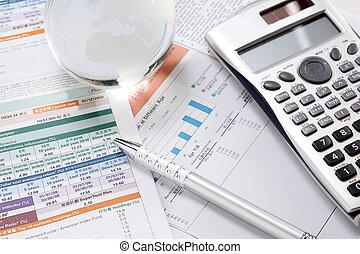 financeiro, gráficos, e, gráficos, tabela