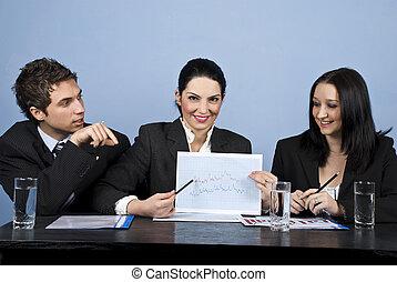financeiro, pessoas negócio, mostrar, mapa, reunião