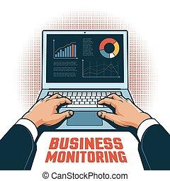 financeiro, pista, laptop, mãos, homem negócios, desempenho, tela