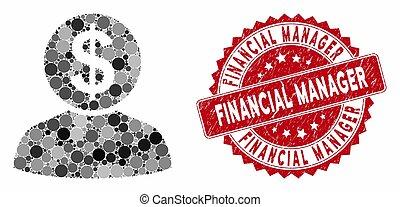 financeiro, selo, colagem, gerente, grunge, banqueiro