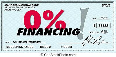 financement, non, prêt, cent, zéro, bas intérêt, 0%, ...