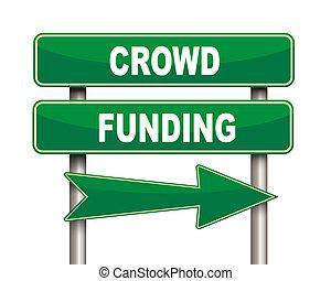 financement, vert, foule, panneaux signalisations