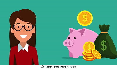 finances and economy online with piggy ,hd video animation