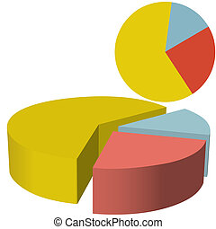 Finances Data Pie Chart Three 3D Se