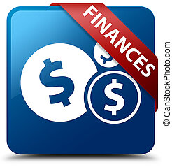 Finances (dollar sign) blue square button red ribbon in corner