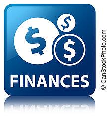 Finances (dollar sign) blue square button