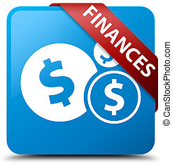 Finances (dollar sign) cyan blue square button red ribbon in corner