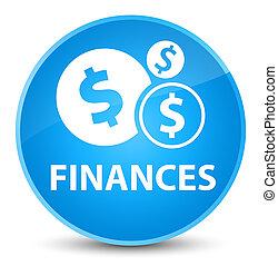Finances (dollar sign) elegant cyan blue round button