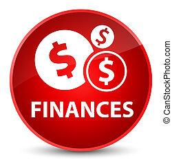 Finances (dollar sign) elegant red round button