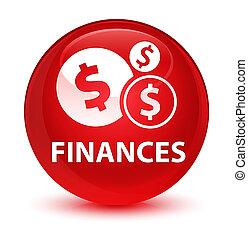 Finances (dollar sign) glassy red round button