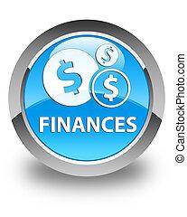 Finances (dollar sign) glossy cyan blue round button