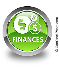 Finances (dollar sign) glossy green round button