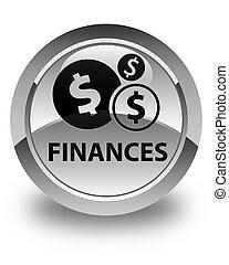 Finances (dollar sign) glossy white round button