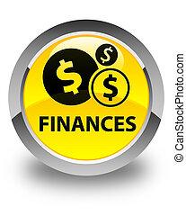 Finances (dollar sign) glossy yellow round button