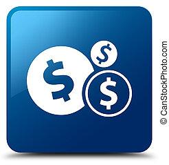 Finances dollar sign icon blue square button