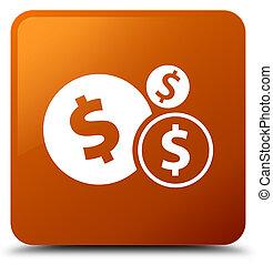 Finances dollar sign icon brown square button