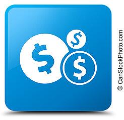 Finances dollar sign icon cyan blue square button
