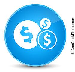 Finances dollar sign icon elegant cyan blue round button