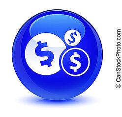 Finances dollar sign icon glassy blue round button
