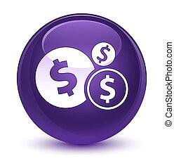 Finances dollar sign icon glassy purple round button