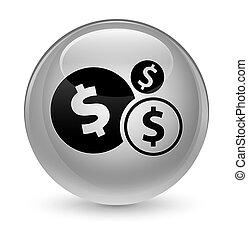 Finances dollar sign icon glassy white round button
