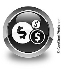 Finances (dollar sign) icon glossy black round button